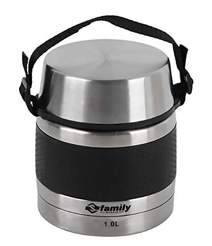FAMILY Termo para Comidas de Acero Inoxidable, Recipiente Aislado para Sólidos y Líquidos con Recipiente Interiores para Sopas, Salsas o Ensaladas (Negro, 1L)