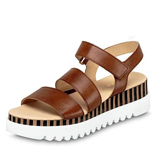 Gabor 44.660-24 modische Damen Sandale aus Glattleder Best-Fitting-Ausstattung, Groesse 38, cognac
