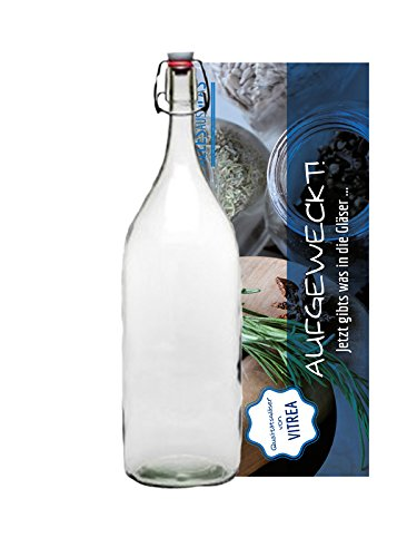 hocz 1 XXL Glasflasche mit Bügelverschluss für 2 Liter zum Selbstbefüllen Bügelflasche