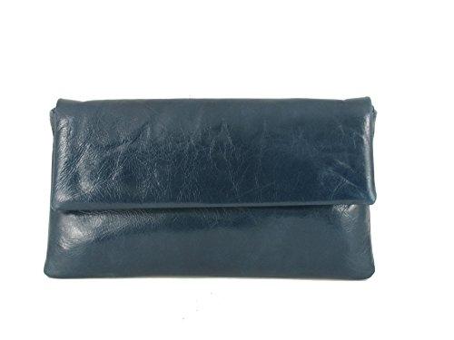LONI Fine-Leather-Clutch Petrol - Cartera de mano para mujer Azul Azul marino claro. small
