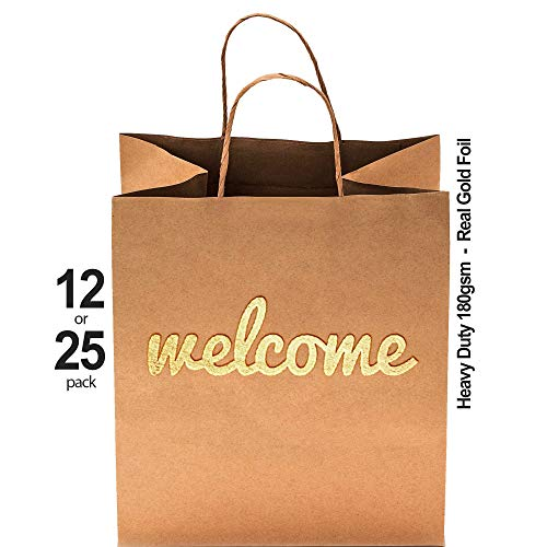 "Wedding Welcome Bags - 25 Pack - 180gsm Thick High Quality - Heavy Duty Double Sided Gold Foil - 10.5"" x 8.25"" - Cute & Perfect for Hotels, Guests, Bridesmaids, Baby Showers, Birthday & Party Favors"