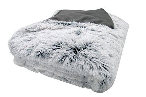 ZOLLNER XXL Kuscheldecke 220x240 cm (weitere verfügbar), grau-weiß, Felloptik