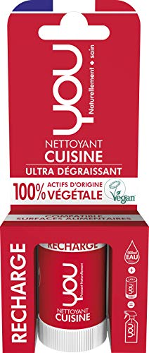 YOU - Recharge pour Spray Nettoyant Cuisine - Ultra Dégraissant - 100% d'Actifs d'Origine Végétale - Certifié Vegan - Parfum Naturel - Fabriqué en France - Concentré pour 500 ml, 12 ml