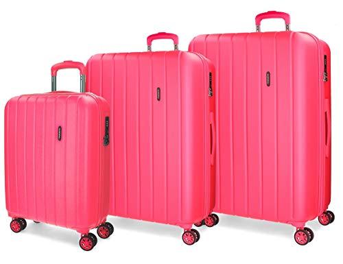 Movom Wood Juego de maletas Rosa 55/65/75 cms Rígida ABS Cierre TSA 220L 4 Ruedas Dobles Equipaje de Mano