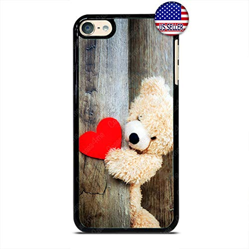 Heart Cute Teddy Bear Music Player Case Love Slim Shockproof Hard PC Custom Case Cover for iPod Touch 7 6 5 4