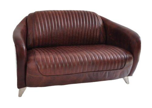Club divano ma Ford 2-posti in cuoio Vintage in alluminio