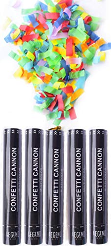 Legend & Co. Large Confetti Cannons Multicolor, (5 Pack) Biodegradable and Air Powered | Launches 20-25ft | Celebrations, New Year's Eve, Birthdays and Weddings