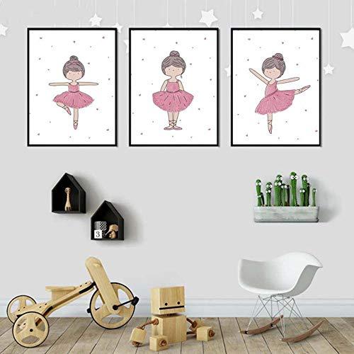 Rudxa Las Bailarinas Pintura del Cartel Nursery Wall Art Cuadro de La Historieta del Bebé para Niños con decoración-40X60Cmx3 Piezas Sin Marco