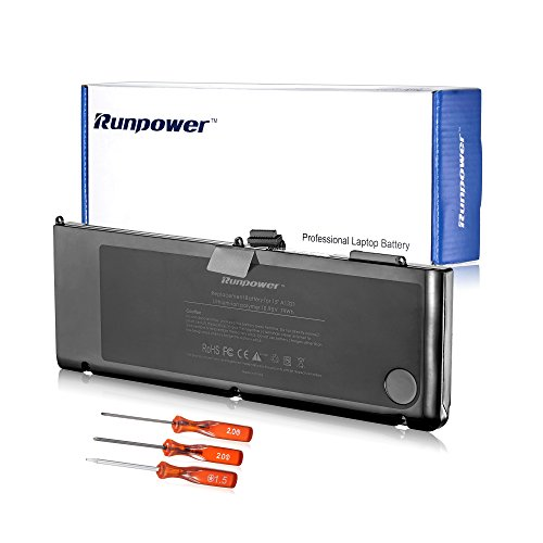 Runpower New Laptop Battery for A1321 A1286 (only for Mid 2009 2010 Version) Unibody MacBook Pro 15-Inch + Three Free Screwdrivers - 12 Months Warranty [Li-Polymer 6-cell 79Wh/7200mAh]