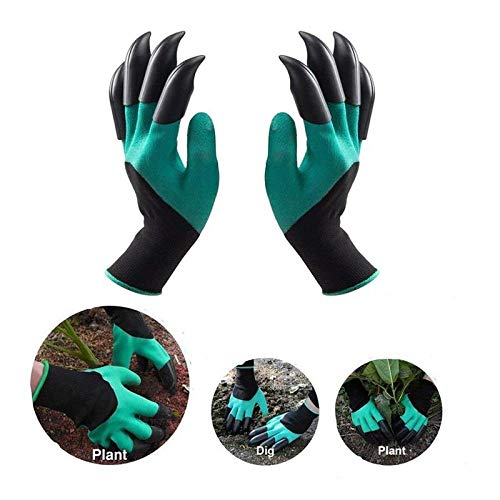 4 Pairs Garden Gloves With Fingertips Claws,Garden Genie Gloves With Claws,Waterproof And Breathable Best Gardening Gifts For Women And Men,Garden Claw Gloves