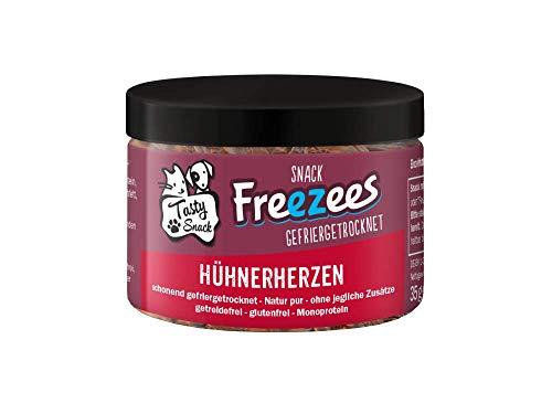 TastySnack Freezees Snacks für Katzen Hühnerherzen 35g | Monoprotein | getreidefrei | gefriergetrocknet