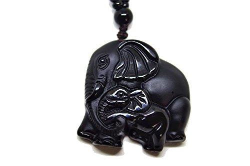 Yigedan Natürlicher Obsidian verehrter Mutter Elefant Jade Anhänger Halskette