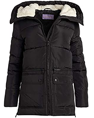 Madden Girl Women's Outerwear - Heavyweight Bubble Puffer Jacket with Oversized Sherpa Fur Lined Hood, Size Large, Black/Black' by