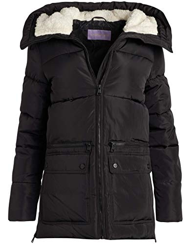 Madden Girl Women's Outerwear - Heavyweight Bubble Puffer Jacket with Oversized Sherpa Fur Lined Hood, Size Small, Black/Black'
