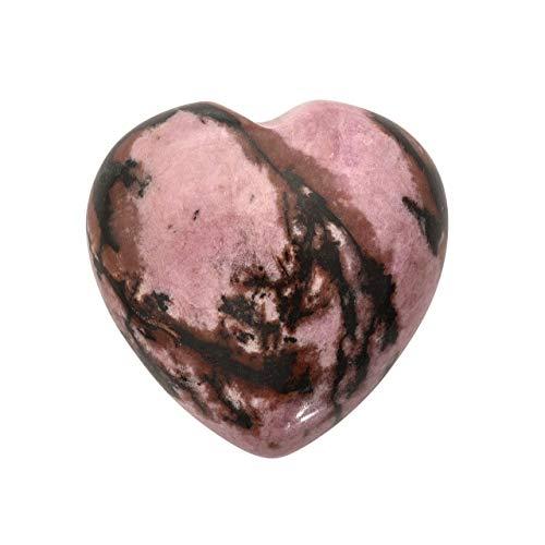 PESOENTH Heart Worry Stones Anxiety,Rhodochrosite Palm Stone Pocket Quartz Crystal Healing Chakra Stress Gemstone for Jewllery Making,Reiki Meditation Therapy Smooth