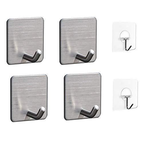 Self Adhesive Hooks, Heavy Duty Stainless Steel Sticky Hanger, Waterproof Hanging Holder Stick on Wall, Door, Closet, Bathroom, Bedrooms, Kitchen for Towel, Coat, Tea Towel, Clothes