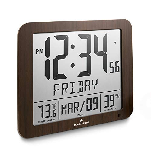 """Marathon Slim Atomic Full Calendar Clock with Large 3.25"""" Digits, Indoor Temperature and Humidity - Batteries Included - CL030067WD (Wood Grain Finish)"""