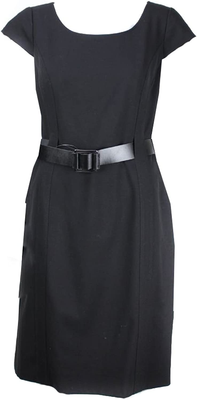 Tahari Black CapSleeve Belted Sheath Dress Msrp