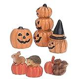 Angoily 6 Piezas de Figuras de Calabaza Miniatura de Halloween Adornos Decorativos Simulación de Ardilla Erizo Conejo Hada Jardín Accesorios Casa de Muñecas Decoración de Calabaza para