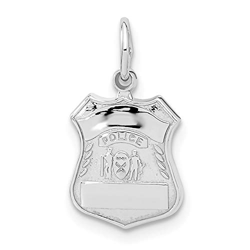 14k White Gold Police Badge Charm Pendant