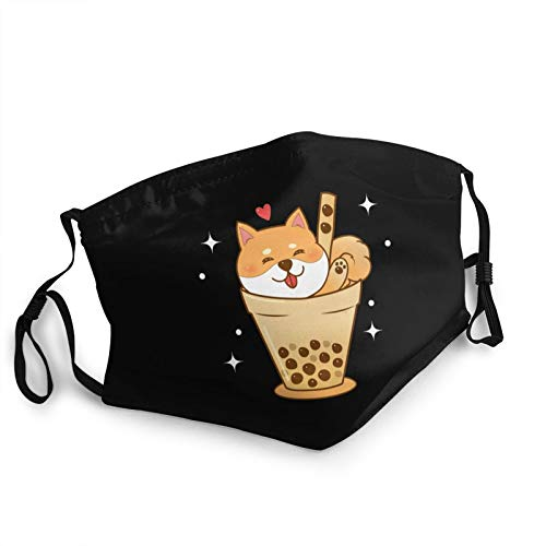 Adults Kids Reusable Face Mask Shiba Inu in Bubble Tea Cup Dust-Proof Sports Face Cover Outdoor Masks Black