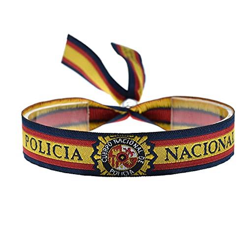 BDM Pulsera policía Nacional con el Escudo y la Bandera española, Cinta para Hombre y Mujer.