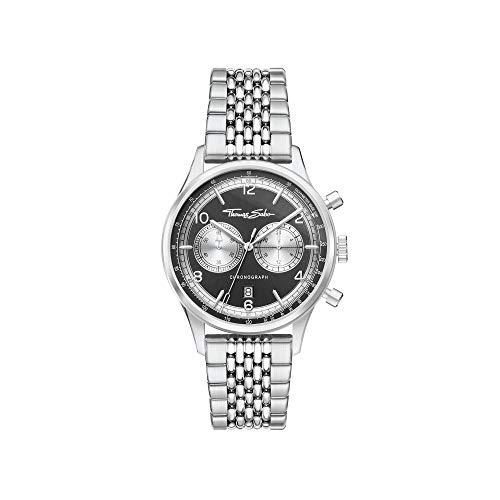 THOMAS SABO Reloj de hombre Rebel at Heart con cronógrafo, plateado y negro, acero inoxidable plateado, WA0375-201-203