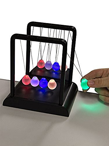 Think Stores Newton's Multi-Color Light Up Cradle with LED Glass Balls and Mirror for Desktops