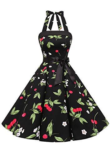 Timormode 10212 Vintage Kleid Knielang Retro Cocktailkleid Neckholder Swing Faltenrock Klein Schwarz Kirsche M