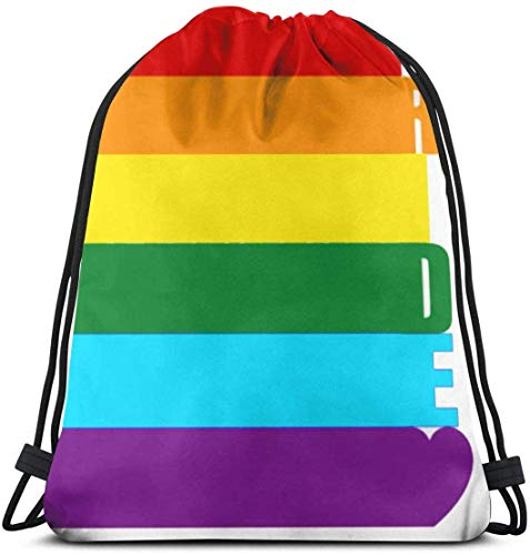 March flowers Gay Pride Rainbow 3D Print Drawstring Backpack Rucksack Shoulder Bags Gym Bag for Adult 16.9\