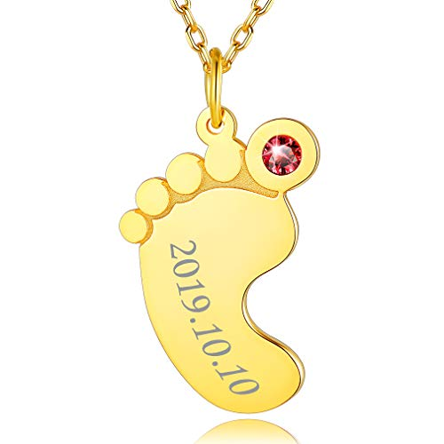 Nombres Personalizados Bebes Collar Precioso para Mama Color Oro Amarillo Plata de Ley 925 Pies Diseños Colgante Pequeño Cute para Regalo Mujeres