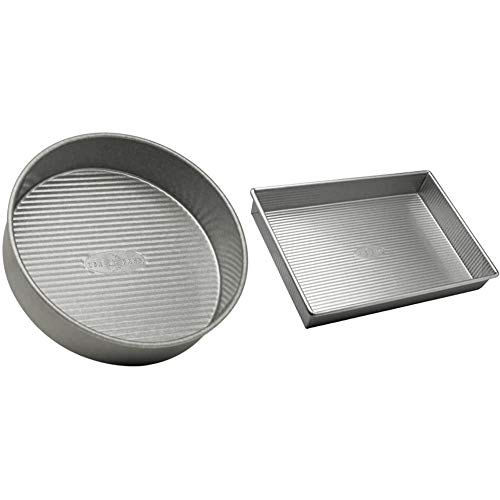 USA Pan Bakeware Round Cake Pan, 9 inch, Nonstick & Quick Release Coating, 9-Inch,Aluminized Steel & Bakeware Rectangular Cake Pan, 9 x 13 inch, Nonstick & Quick Release Coating
