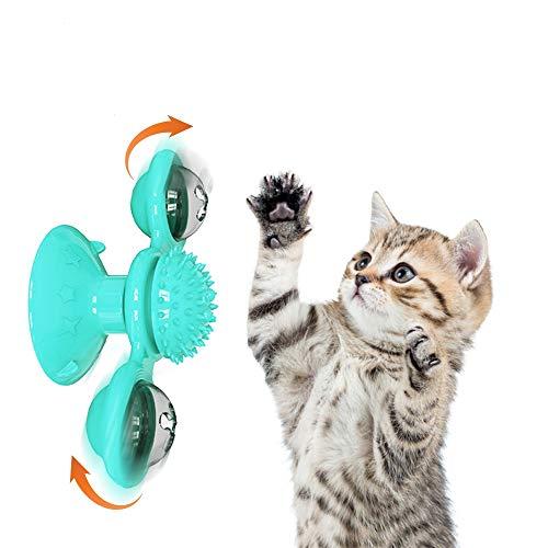 NIBESSER Katzenspielzeug Windmühle, Spielzeug mit Katzenminze, Plattenspieler Katzenspielzeug Necken Haustier Spielzeug Kratzen Tickle Cats Haarbürste Katze Interactive Spielzeug mit Saugnapf