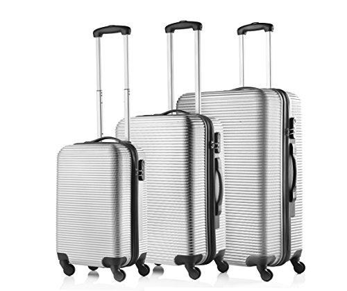 Travelz Horizon harde schalen ABS kofferset - reiskoffer - bagageset trolley (zilver)