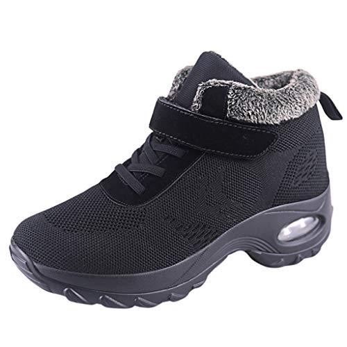 DAIFINEY Damen Sneaker Warm Gefüttert Sportlicher Schnürer Leichte Modische Turnschuhe Fliegendes Weben Socken Sportschuhe Schüler Freizeit Atmungsaktiv Laufschuhe Outdoor(Schwarz/Black,39.5)