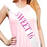 Sterling James Co. Sweet 16' White and Pink Glitter Sash - 16th Birthday - Sweet Sixteen - Party Supplies, Ideas, Gifts and Decorations