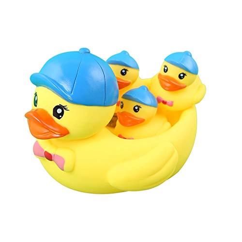 MARKS Baño de baño para niños Juguetes Baño Baño Little Amarillo Pato Ruibarb Pato Madre Niños Jugando en Juguetes de Agua Pato Squeaaking Juguetes Sonidos