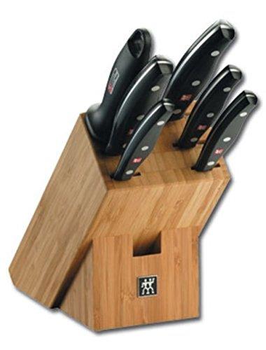ZWILLING Messerblock, 7-tlg., Bambusblock, Messer aus rostfreiem Spezialstahl/Kunststoff-Griff, Twin Pollux