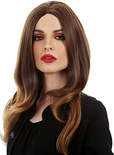 ALLAURA Melania Trump Wig. Long Brown Wavy Wigs Women Curly Hair Cosplay Full Wig