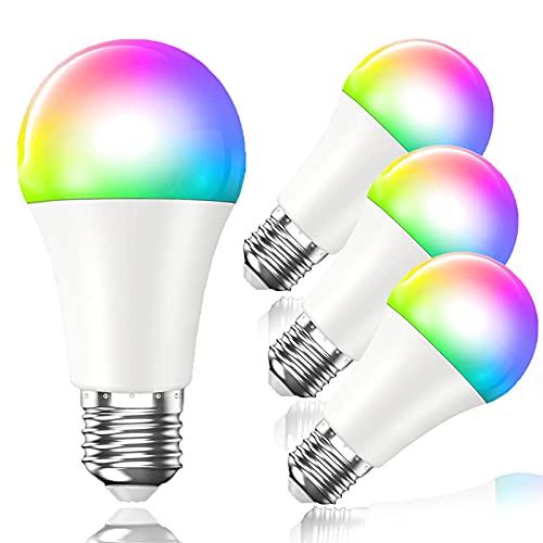 Gorssen Bombilla LED Inteligente WiFi,7W 840 Lúmenes E27 Lámpara, WiFi Bombilla Luces Cálidas/Frías & RGB Funciona con Alexa Google Home, 16 Millones de Colores, 4...