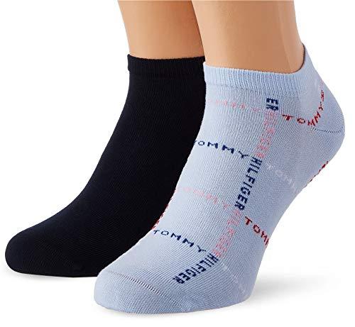 Tommy Hilfiger Mens Grid Men's Sneaker-Trainer (2 Pack) Socks, Light Blue, 39/42