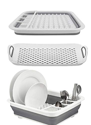 Ahyuan Collapsible Drying Rack with Drain Board Set Foldable Dishes Dinnerware Basket Plates Drainer Pop up Dish Rack Collapsable Dish Drainers for Kitchen Counter RV Campers (12.4''Wx16''L)
