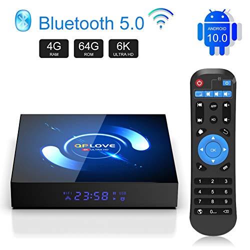 QPLOVE TV Box Android 10.0, H616 Smart TV Box 4GB RAM+64GB ROM Quad Core 64 bit mit 6K/2.4/5.0GHz WiFi /3D/ 100 LAN / H.265, HDMI, Android Set-top-Box [2020 Neueste]