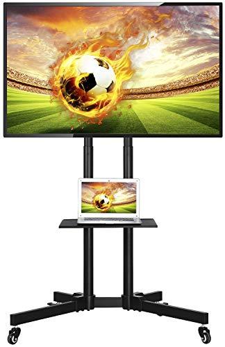 Yaheetech Supporto Staffa per TV Carrello Porta TV con Ruote a Terra Ripiano per Monitor Tv LCD LED Plasma da 32 a 65 pollici VESA da 200x200 mm a 600x400 mm Altezza e Angolo Regolabile