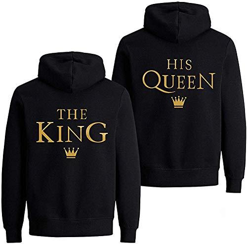 Couple Pärchen Partner King Queen Pullover Hoodie Kapuzenpullover (Gold-Schwarz Herren M)