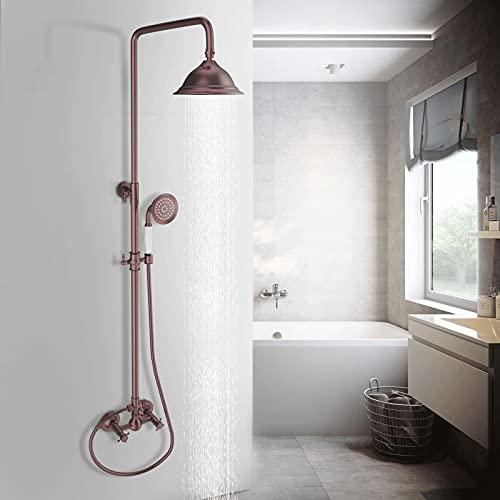 JUNSHENG Columna de ducha con alcachofa de ducha de latón de 8 pulgadas, diseño vintage, barra de ducha de altura ajustable, juego de ducha completo, bronce rojo