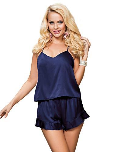 ohyeahlady Mujer Conjunto de Pijama Satén Corto para Verano Pijama Seda Suave Camiseta sin Mangas y Pantalones Cortos Ropa de Dormir 2 Piezas Satén(Azul,XS-S)