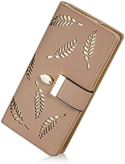 Elios Women's Long Leaf Pattern Bifold Card Phone Holder Purse Zipper Buckle Elegant Clutch Wallet (Khakhi)