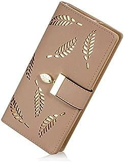 Women's Long Leaf Pattern Bifold Card Holder Purse Zipper Buckle Elegant Clutch Wallet
