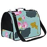 AMONKA - Bolsa de transporte para mascotas de caña de loto para gatos pequeños, medianos y pequeños, bolsa de transporte plegable para cachorros y cachorros con alfombrilla de repuesto cómoda